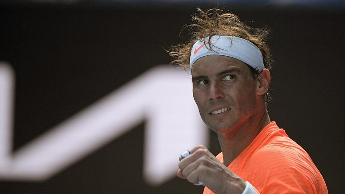 Spains Rafael Nadal celebrates after defeating Italys Fabio Fognini in their fourth round match at the Australian Open tennis championship in Melbourne, Australia, Monday, Feb. 15, 2021.(AP Photo/Andy Brownbill)
