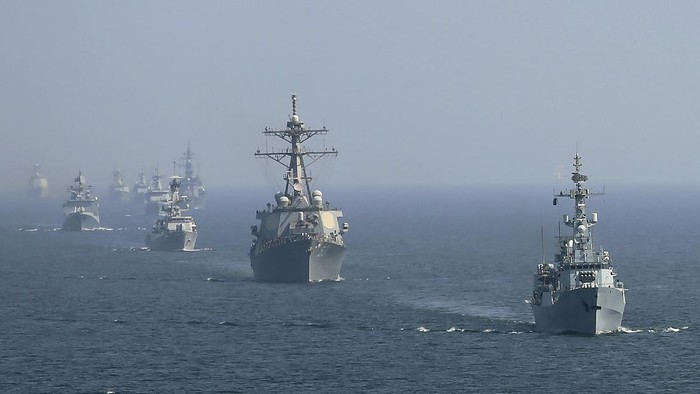 "A warship of the U.S. takes part in the ""Aman"" or peace exercise in the Arabian Sea, off Karachi, Pakistan, Monday, Feb. 15, 2021. Warships over 40 countries including the United States, Russia, Britain and China are participating a five-day multinational exercise hosted by Pakistan Navy in the Arabian Sea as part of Islamabad's years-long effort to bring security to the area, Pakistan navy said. (AP Photo/Mohammad Farooq)"