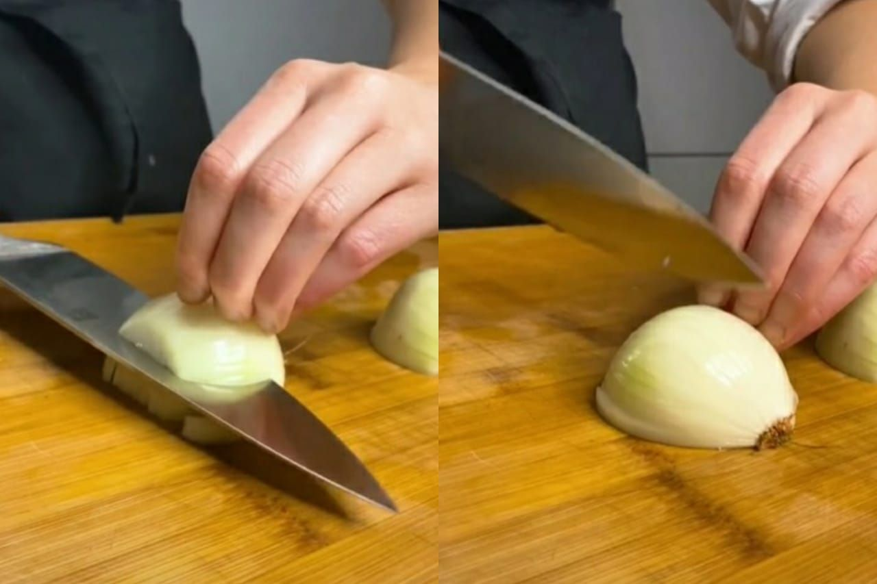 cara memotong bawang bombai ala chef profesional