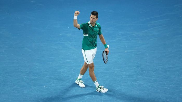 MELBOURNE, AUSTRALIA - FEBRUARY 16: Novak Djokovic of Serbia celebrates after winning a point  in his Mens Singles Quarterfinals match against Alexander Zverev of Germany during day nine of the 2021 Australian Open at Melbourne Park on February 16, 2021 in Melbourne, Australia. (Photo by Cameron Spencer/Getty Images)