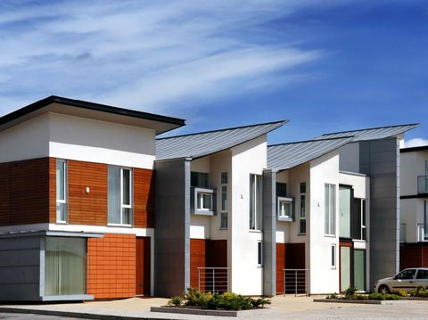 A row of modern eco-friendly housing in Manchester, England. Just completed and ready to move into.