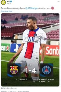 Barcelona kalah telak 1-4 dari PSG dalam lanjutan leg pertama 16 besar Liga Champions.