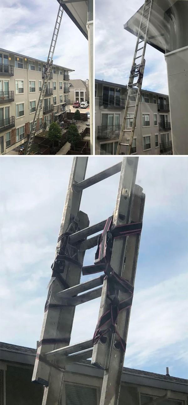 Ini bukan life hack ya, bahaya menyatukan tangga seperti ini!