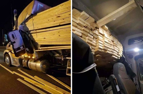 Bisa bayangkan jika truk ngerem mendadak, balok-balok kayu ini akan menghantam kepal sopir bahkan menghancurkan kaca depannya?