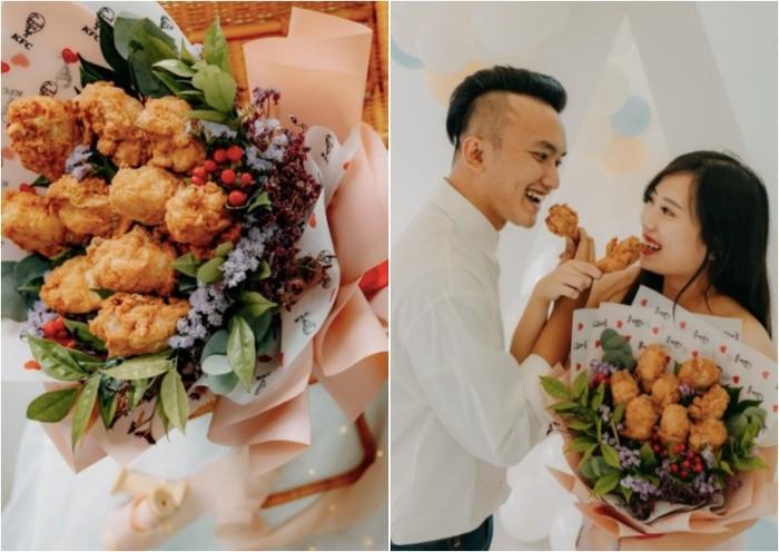 Romantis! Pria Ini Lamar Kekasihnya dengan Buket Ayam Goreng