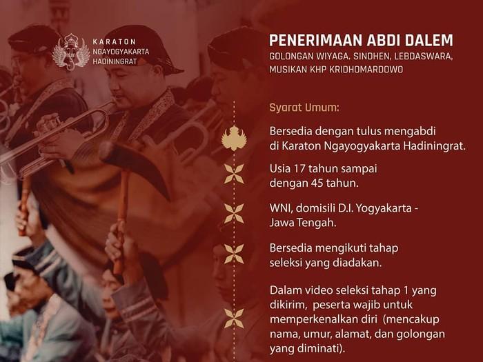 Keraton Yogyakarta membuka lowongan abdi dalem, Kamis (18/2/2021).