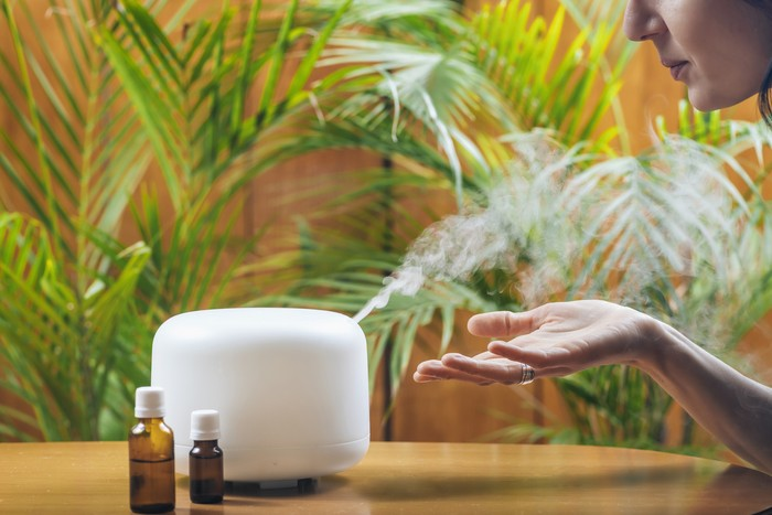 Woman Enjoying Aroma Therapy Steam Scent from Home Essential Oil Diffuser or Air Humidifier. Ultrasonic technology, increasing air humidity indoors for more comfortable living conditions