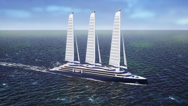 Ketinggiannya memiliki panjang 80 meter, terbuat dari fiberglass dan karbon. Konsep Solid Sail / AeolDrive ini akan mengurangi emisi kapal pesiar hingga 50%, menurut galangan kapal (Foto: Chantiers de lAtlantique/CNN)
