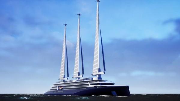 Chantiers de lAtlantiqueyang mempresentasikan desain kapal pesiar layar tiga tiang sepanjang 200 meter. Disebut Silenseas, armada ini telah diperlihatkan di Pameran Miami Seatrade Cruise 2018 dan 2019. (Foto: Chantiers de lAtlantique/CNN)