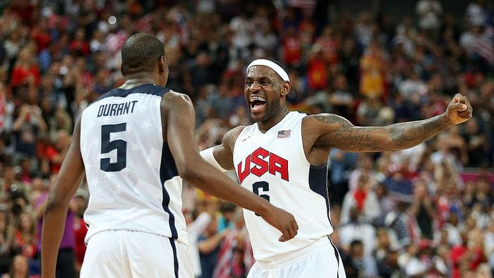 LONDON, ENGLAND - AUGUST 12:  Kevin Durant #5 and LeBron James #6 of the United States celebrate in the Mens Basketball gold medal game between the United States and Spain on Day 16 of the London 2012 Olympics Games at North Greenwich Arena on August 12, 2012 in London, England.  (Photo by Christian Petersen/Getty Images)