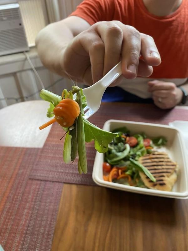 Salad sayur yang menggiurkan. Namun, lihat teliti lagi, ada belalang yang tersangkut di sana. Masih mau makan?