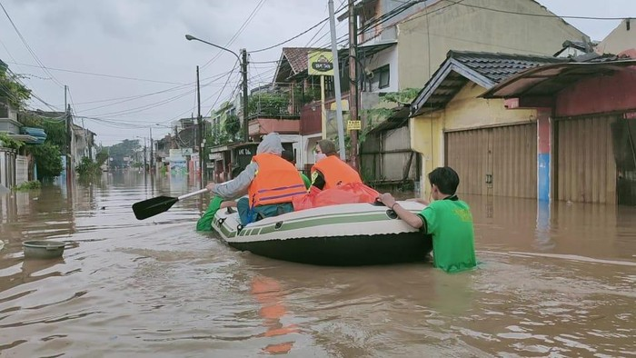 Banjir di Pondok Gede Permai, Kota Bekasi, Sabtu (20/2/2021).