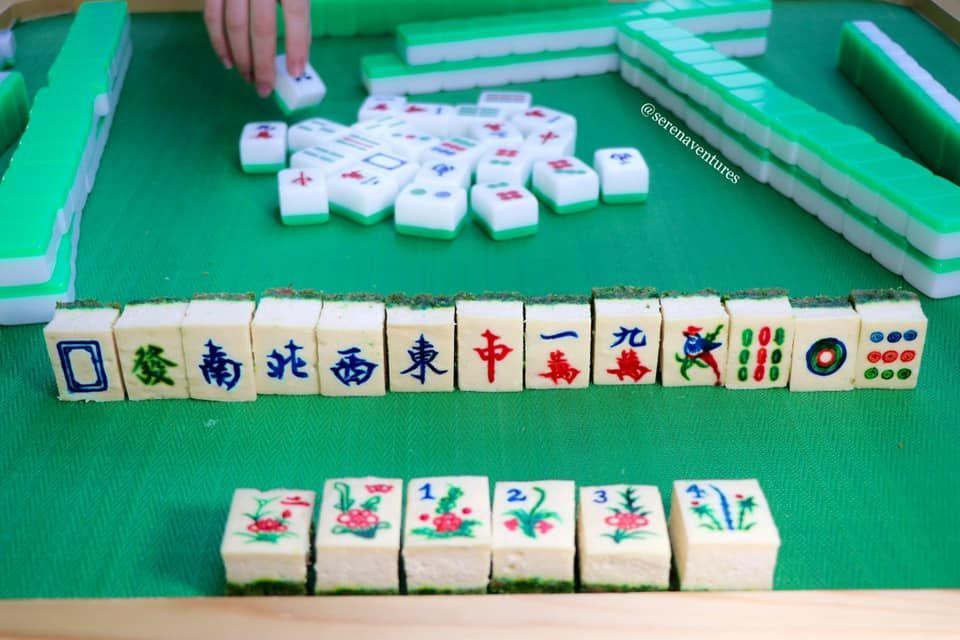 cheesecake berbentuk permainan mahjong