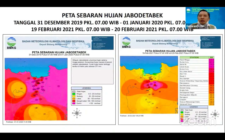 Perbandingan curah hujan awal 2020 dengan awal 2021. (BMKG)