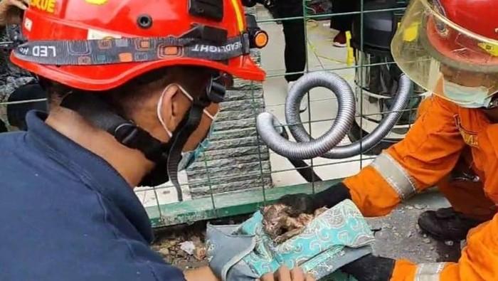 Petugas Unit Rescue Damkar Kota Surabaya berhasil menyelamatkan anak kucing liar yang terjebak di dalam pipa saluran pembuangan. Anak kucing malang itu, berhasil diselamatkan setelah petugas menjebol beton cor di halaman salah satu sekolah
