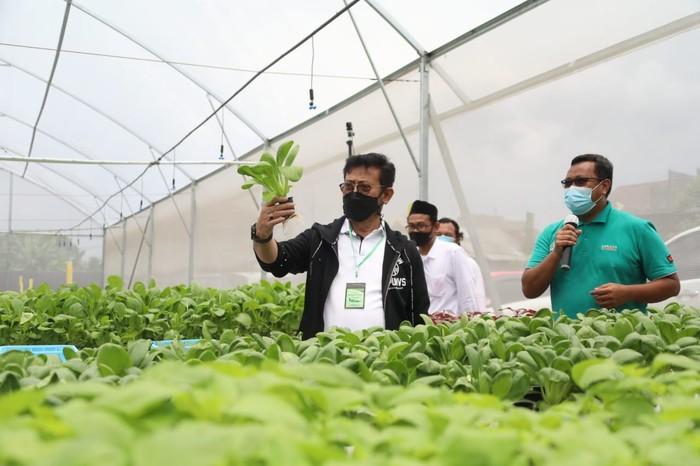 Menteri Pertanian Syahrul Yasin Limpo menyambut baik dan mengapresiasi Green House yang dikelola Pondok Pesantren Al-Ghazali, Bogor.