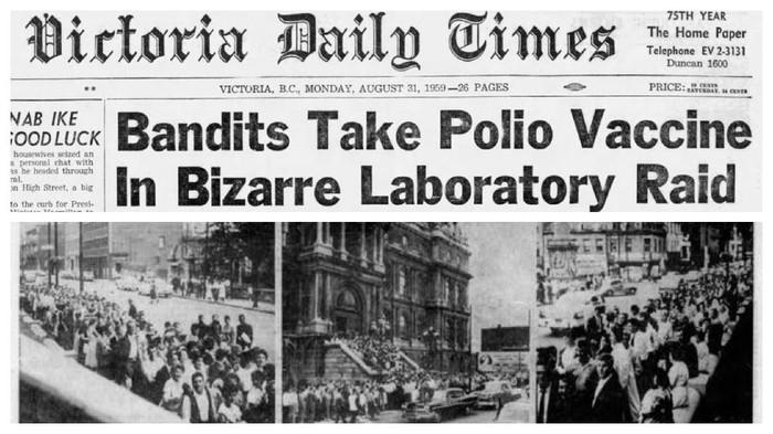 Vaksin dibutuhkan terlebih ketika terjadi pandemi atau epidemi. Namun ada orang-orang yang menolak kepentingan bersama dan ingin mengambil keuntungan sendiri dari sediaan vaksin. Salah satunya adalah kasus pencurian vaksin pernah membuat dunia geger. 75 ribu vaksin berhasil dicuri di Montreal, Kanada.  Saat itu musim panas 1959, epidemi besar poliomyelitis melanda Kanada. Québec melihat adanya kasus terbanyak tahun itu. Surat kabar melaporkan lebih dari seribu kasus dan 88 kematian.