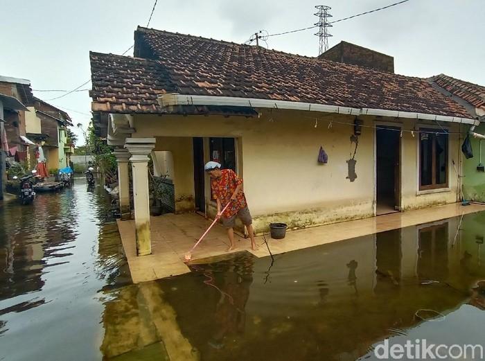 Kondisi banjir di Desa Jati Wetan Kecamatan Jati, Kudus, Senin (22/2/2021).