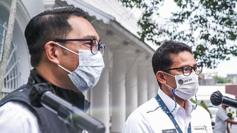 Menparekraf Sandiaga Uno menemui Gubernur Jabar Ridwan Kamil, Senin (22/2/2022).