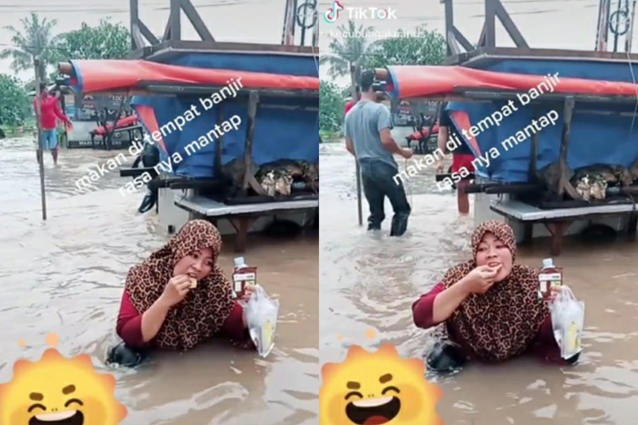 momen makan di tengah banjir