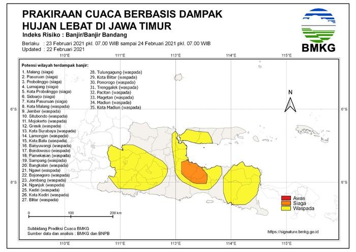 bmkg juanda hari ini , 7 Daerah di Jatim Siaga Banjir Bandang, 28 Waspada