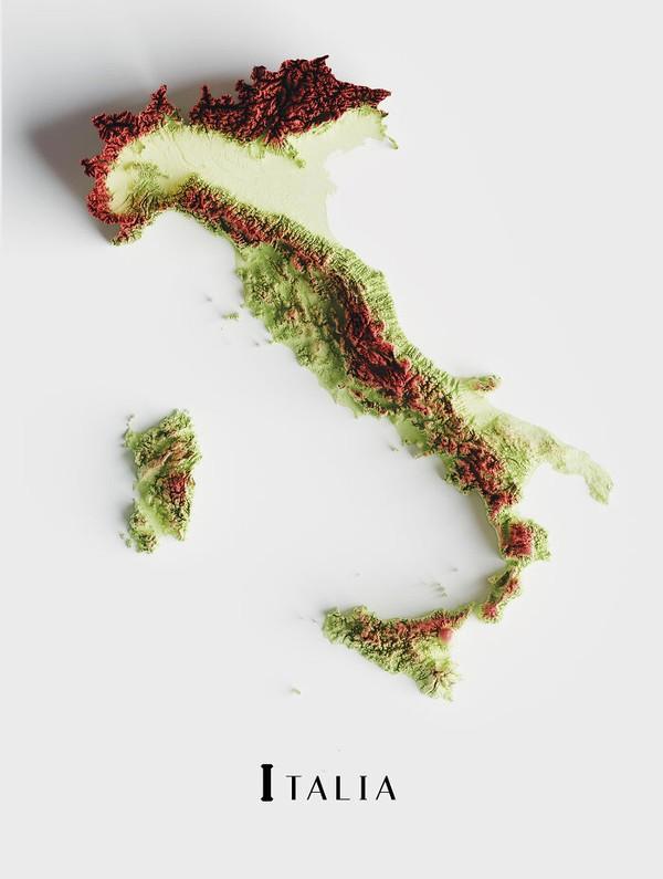 Peta topografi Italia.