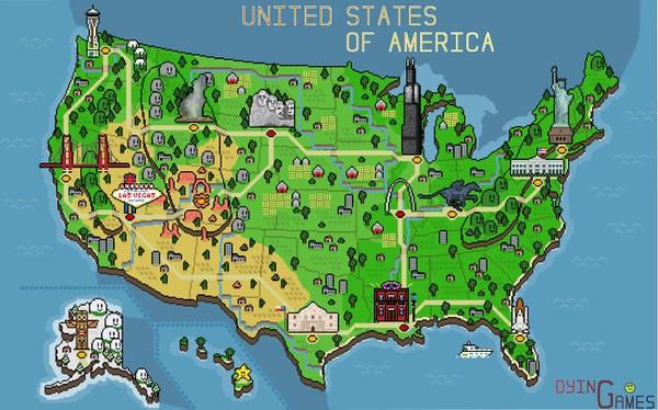 Peta USA dalam bentuk pixel. Lucu nih!