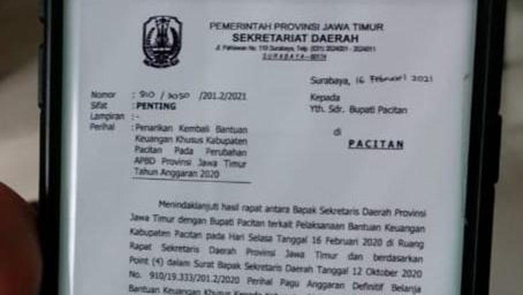 Ini Isi Surat Pemprov Jatim soal Bupati Pacitan Terkait Dana Hibah Rp 9 M
