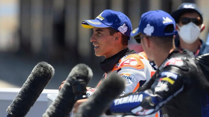 JEREZ DE LA FRONTERA, SPAIN - JULY 18:  Marc Marquez of Spain and Repsol Honda Team speaks with journalists during the MotoGP of Spain - Qualifying at Circuito de Jerez on July 18, 2020 in Jerez de la Frontera, Spain. (Photo by Mirco Lazzari gp/Getty Images)