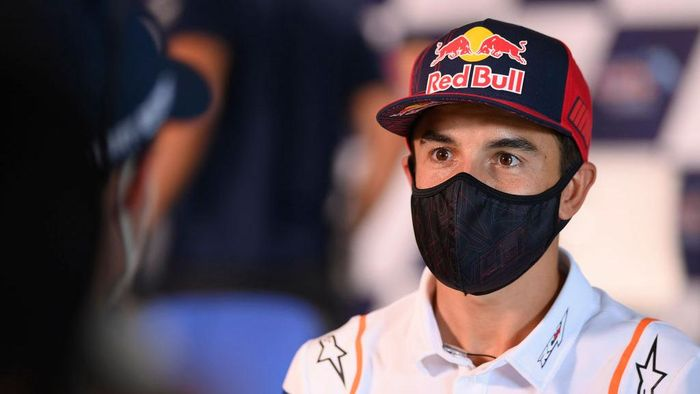 JEREZ DE LA FRONTERA, SPAIN - JULY 16: Marc Marquez of Spain and Repsol Honda Team looks on during the press conference pre-event during the MotoGP of Spain - Media Opportunity at Circuito de Jerez on July 16, 2020 in Jerez de la Frontera, Spain. (Photo by Mirco Lazzari gp/Getty Images)