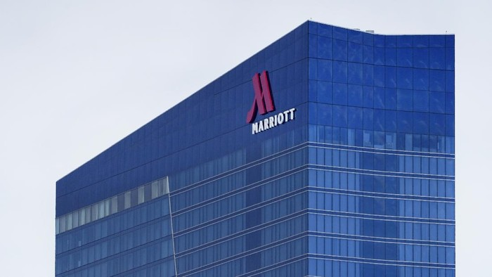 The Marriott Marquis Chicago hotel located near the McCormick Place Convention Center is seen Thursday, Feb. 18, 2021, in Chicago. (AP Photo/Charles Rex Arbogast)