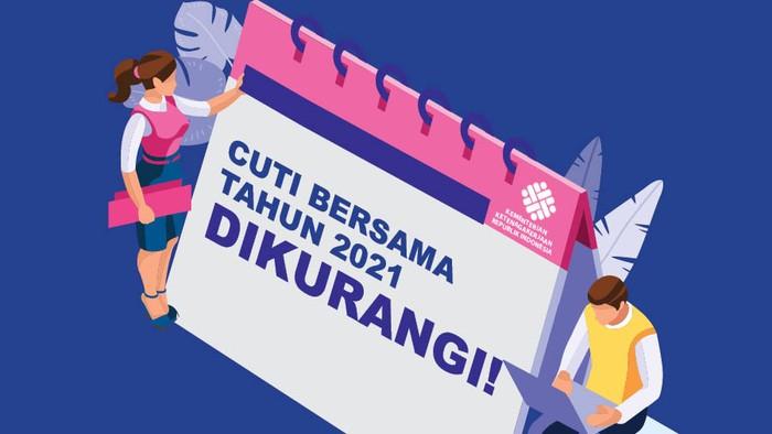 Cuti bersama tahun 2021 resmi berkurang. Hal itu tertuang dalam Surat Keputusan Bersama (SKB) 3 Menteri