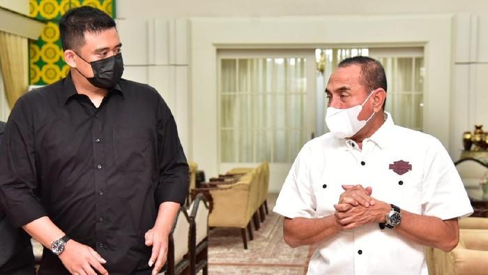 Gubsu Edy Rahmayadi bertemu Walkot Medan terpilih Bobby Nasution (Foto: dok. Diskominfo Sumut)