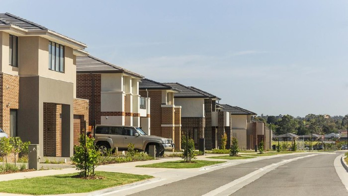New housing estate in Australia growing city Melbourne. New development are constantly going up throughout the suburbs of Melbourne and many other capital cities around Australia.