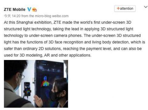 kamera bawah layar generasi kedua dari ZTE dipamerkan di MWC Shanghai 2021.