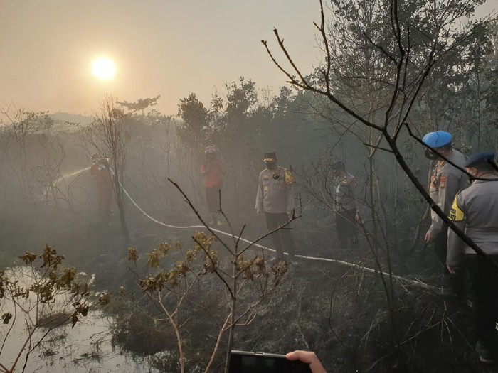Kapolda Kepri nterjun langsung ke lokasi pemadaman karhutla di Pulau Galang