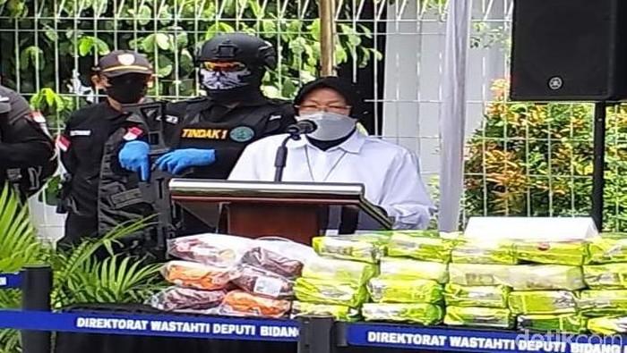 Mensos Tri Rismaharini di Kantor BNN Jalan MT Haryono, Jakarta Timur, Rabu (24/2/2021) / Kadek Melda-detikcom