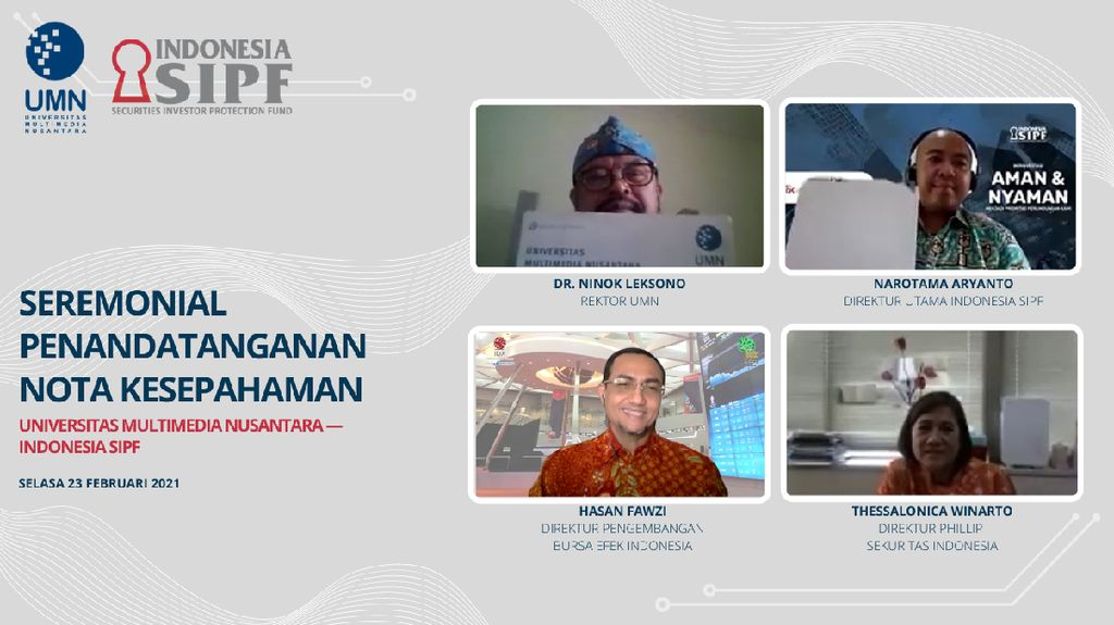 UMN dan Indonesia SIPF Teken MoU Pengembangan Galeri Investasi