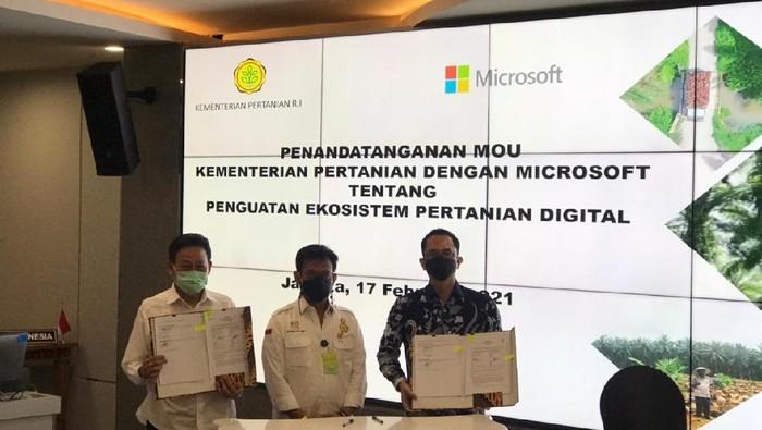 Microsoft dan Kementerian Pertanian menandatangani memorandum of understanding (MoU).