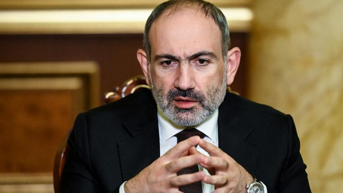 (FILES) In this file photo taken on October 06, 2020 Armenian Prime Minister Nikol Pashinyan gives an interview to AFP in Yerevan. - Armenian leader Nikol Pashinyan accused the military of an attempted coup and urged supporters to take to the streets on February 25, 2021, after months of tensions over his handling of last years war with Azerbaijan. (Photo by - / AFP)