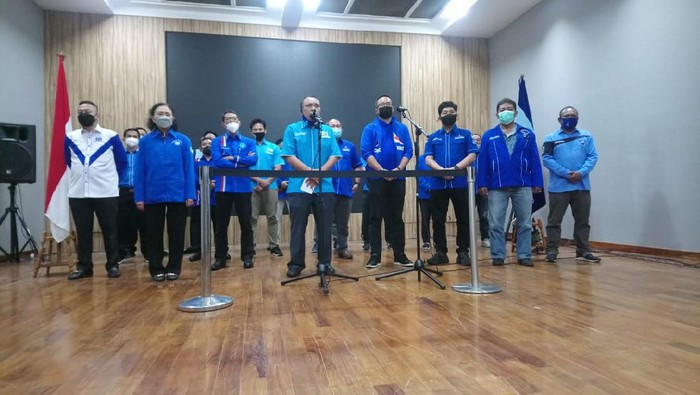 Enam organisasi sayap PD tolak KLB, dukung AHY sebagai ketum, di DPP Demokrat, Jakarta, Kamis (25/2/2021).