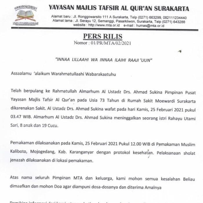 Pemakaman Ust Sukina dengan Prokes