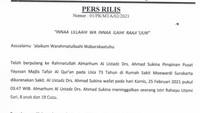 Jenazah Pimpinan MTA Ahmad Sukina Akan Dimakamkan dengan Protokol Kesehatan