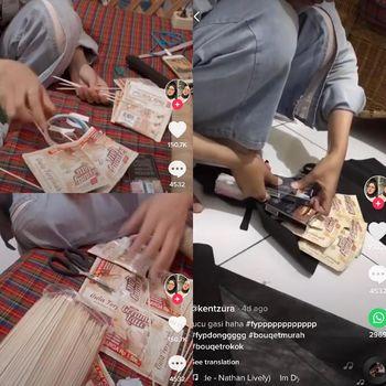 Viral wanita yang memberikan kado buket rokok dan kopi sachet untuk pacarnya.