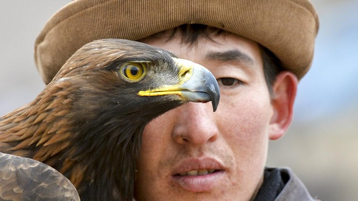 A Kyrgyz man holds a golden eagle for an eagle hunt riding a horse during the hunting festival