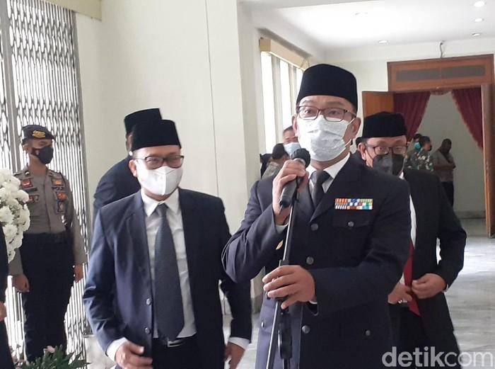 Gubernur Jabar Ridwan Kamil di Gedung Merdeka usai melantik lima kepala daerah hasil Pilkada Serentak 2020.