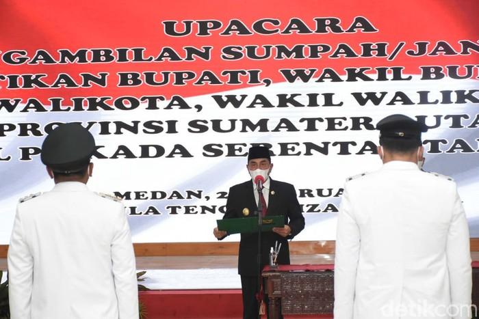 Gubernur Sumut (Gubsu) Edy Rahmayadi melantik 6 kepala daerah se-Sumut hasil Pilkada serentak tahun 2020 (dok Kominfo Sumut)