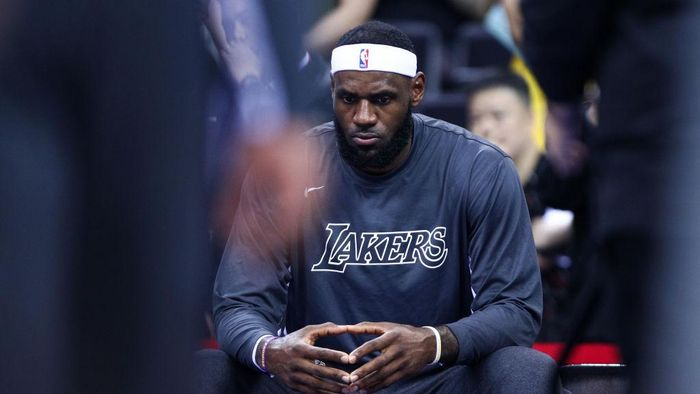 SHENZHEN, CHINA - OCTOBER 12: LeBron James #23 of the Los Angeles Lakers looks on before the match against the Brooklyn Nets during a preseason game as part of 2019 NBA Global Games China at Shenzhen Universiade Center on October 12, 2019 in Shenzhen, Guangdong, China. (Photo by Zhong Zhi/Getty Images)