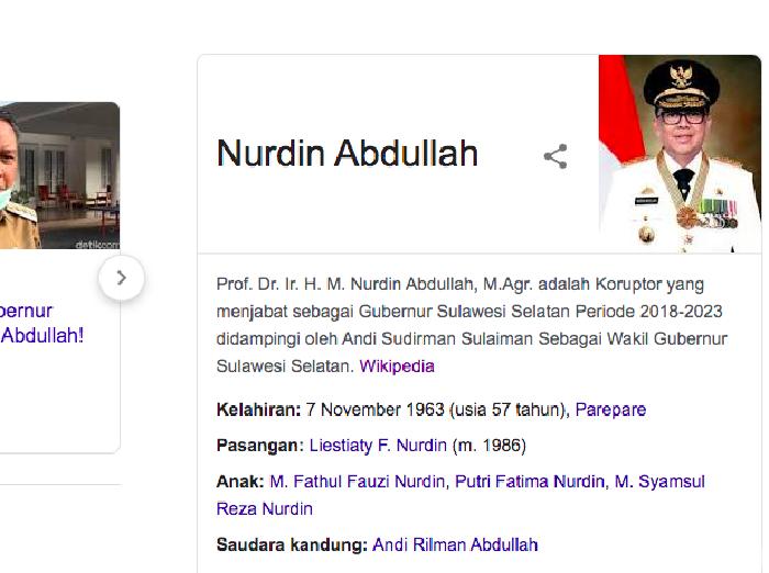 Wikipedia profil Gubernur Sulsel Nurdin Abdullah Diedit Jadi Koruptor usai penangkapan oleh KPK, Sabtu (27/2/2021).