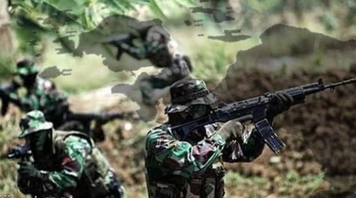 Kontak tembak TNI vs KKB (Foto: dok. TNI)